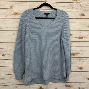Gap Light Blue V Neck Chunky Sweater